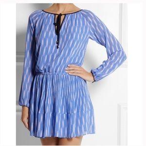 Michael Kors Baby Blue Ikat Georgette Mini Dress